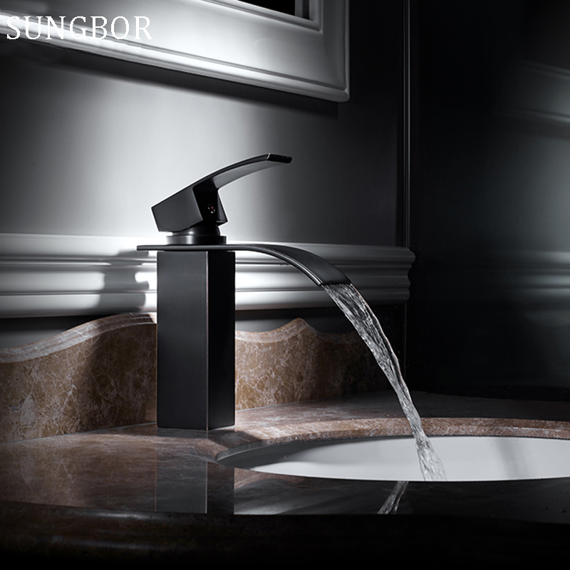 Free Shipping Square Oil Bubbed Bathroom Basin Faucet Brass Mixer Tap Vanity Faucet Sink Mixer Tap Black Waterfall Faucet 7193H bakala free shipping bathroom basin sink faucet wall mounted square chrome brass mixer tap with embedded box lt 320r