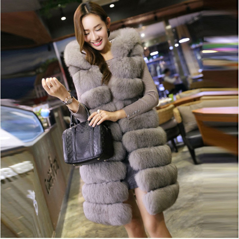 New Fashion Long Faux Fox Mink Fur Vest With Hooded Women Winter Slims Super Long Fake Fur Vests Fur Coat Female Jackets