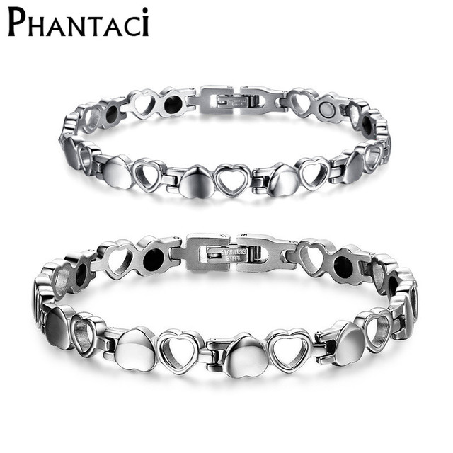 03b5f8cd1e490 US $9.35 20% OFF|Heart Health Bracelets&Bangles Magnetic 316L Stainless  Steel Silver Color Couples Power Charm Bracelet For Women Men Jewelry-in ...
