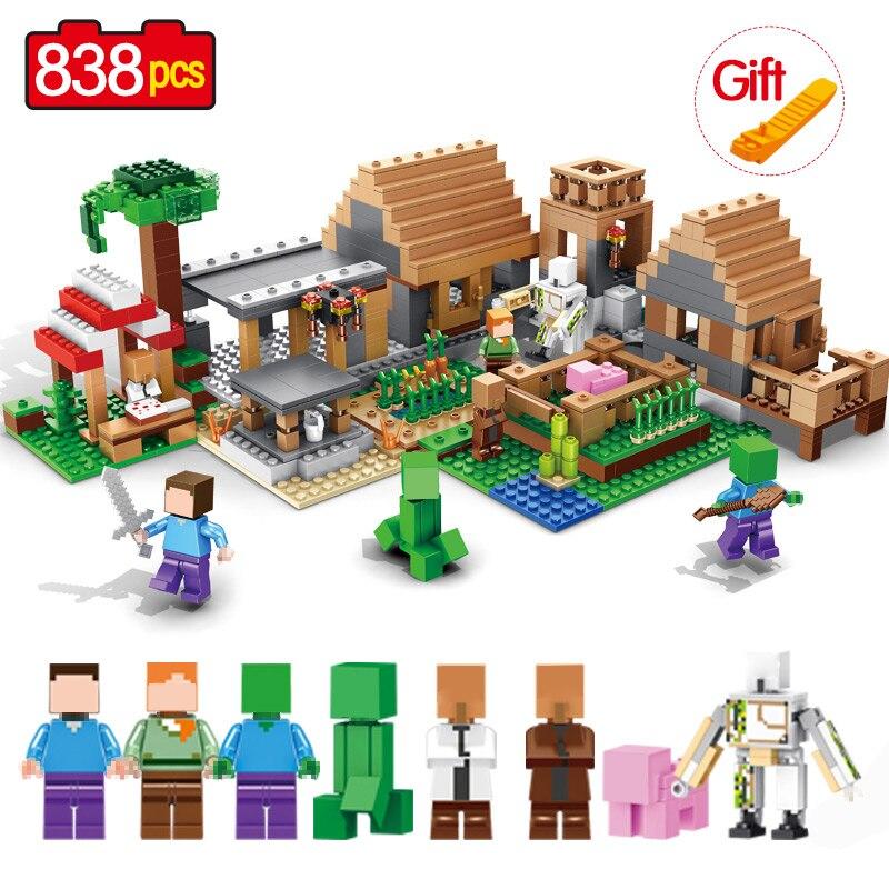 цена на 838PCS Bricks My World Legoinglys Minecrafted Building Block My Village Bricks Action Figures DIY Enlighten Brinquedos Gift Toys