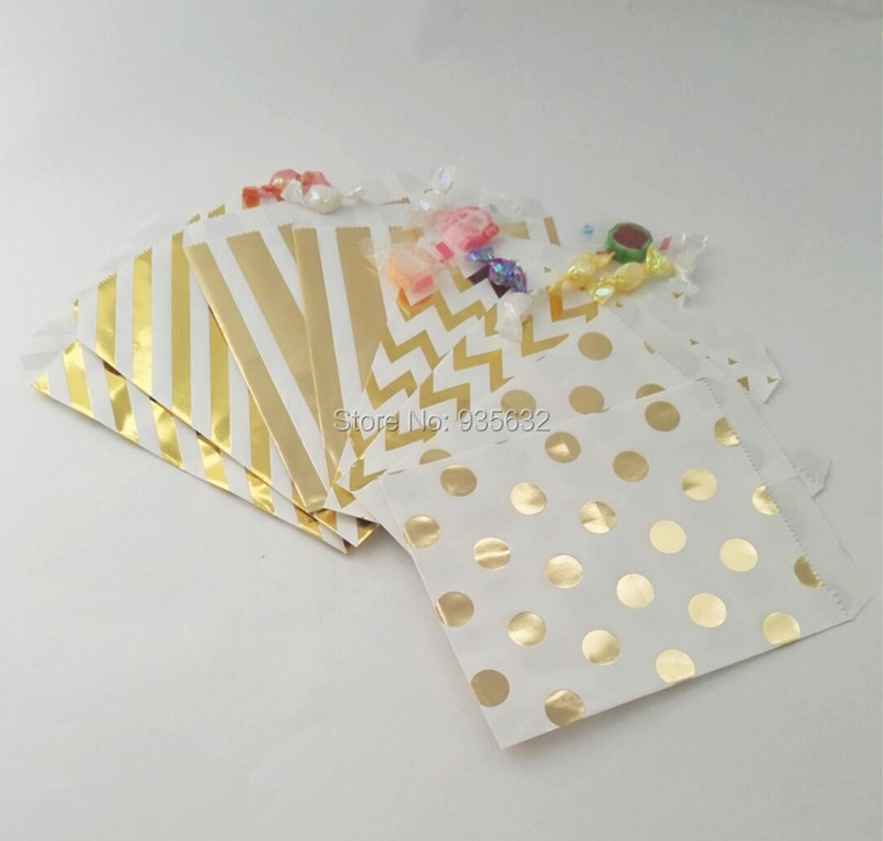 100pcs/lot Metallic Decoation Foil Gold Paper Sweet Bag Favourite Party Bag Wedding Candy Buffet Party Supplies