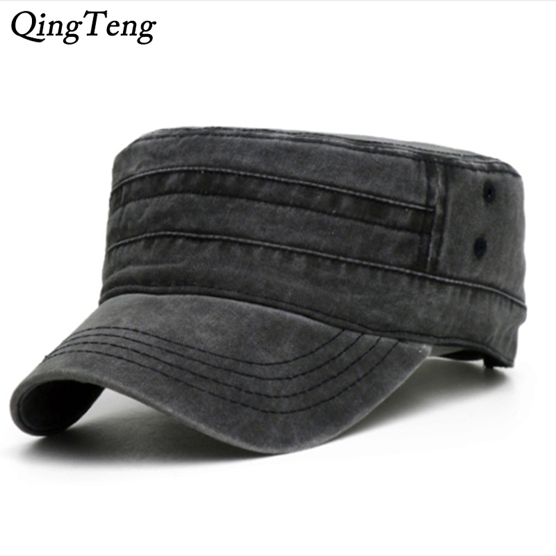 Washed Denim Black Cap For Men Cotton Flat Hat Outdoor Casual Dad Hats Adjustable Women Baseball Caps Male Dropshipping