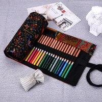 Пенал школьный холст рулон сумка Косметическая Кисть для макияжа ручка для хранения пенал коробка пенал для школьниц 36/48/72 отверстия