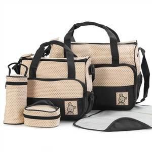 Image 2 - 5 pcs/set Baby Care Diaper Bag Mummy Stroller Handbag Set Maternity Nursery Organizer Hobos Nappy Changing Mat Bottle Holder