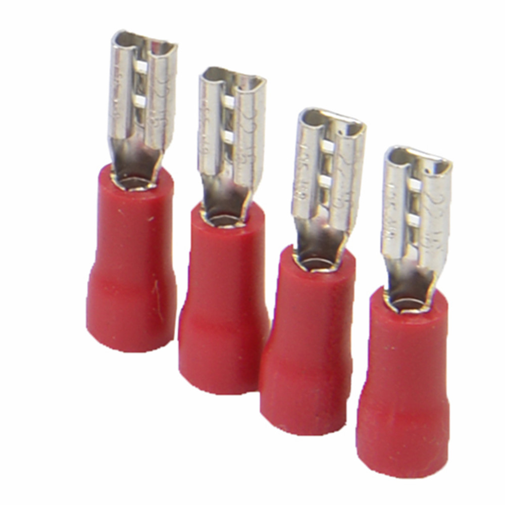 Vinyl Insulated Quick Disconnect Terminals 22-18 Wire Range Female Red 100 Pack