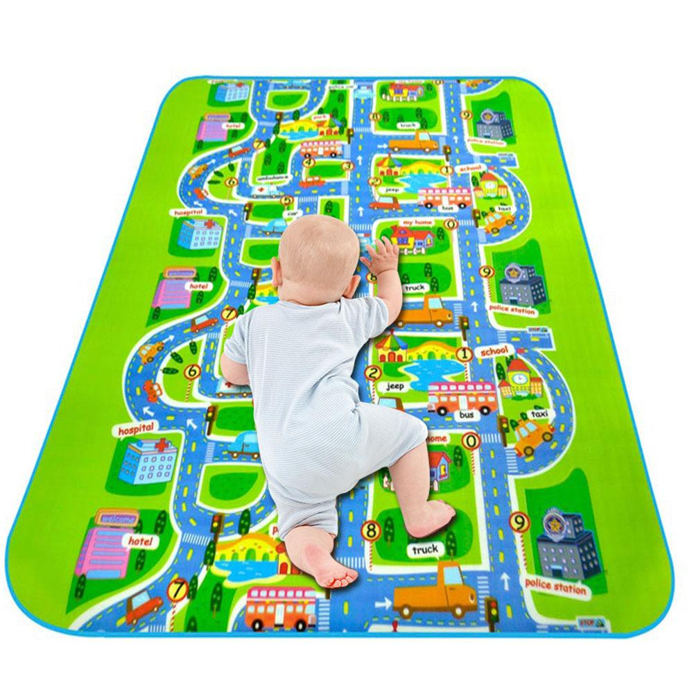 Single Side Rug Puzzle Transport 2*1.6M 0.5CM Maze Street Game Mat Baby Crawling Eva Foam Play Mat Baby Toys Kids Floor Carpet