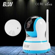 BW WiFi Ip-камера HD 720 P Беспроводной Инфракрасный ИК CCTV Видеонаблюдения Сетевая Камера + Детектор Дыма Двухстороннее Аудио движения