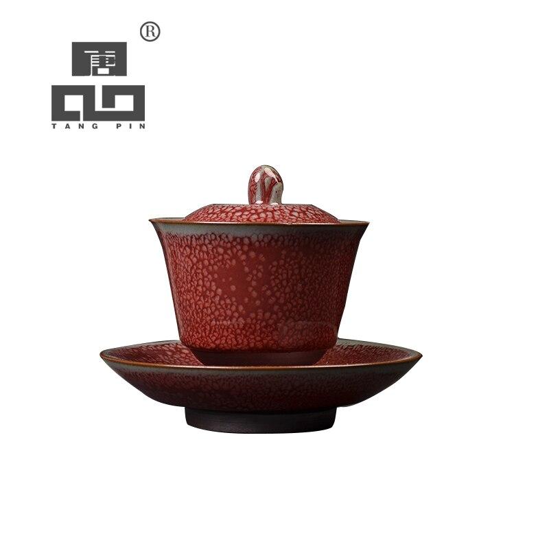 TANGPIN teaware sets ceramic gaiwan red handmade chawan porcelain chinese kung fu tea set 100ml