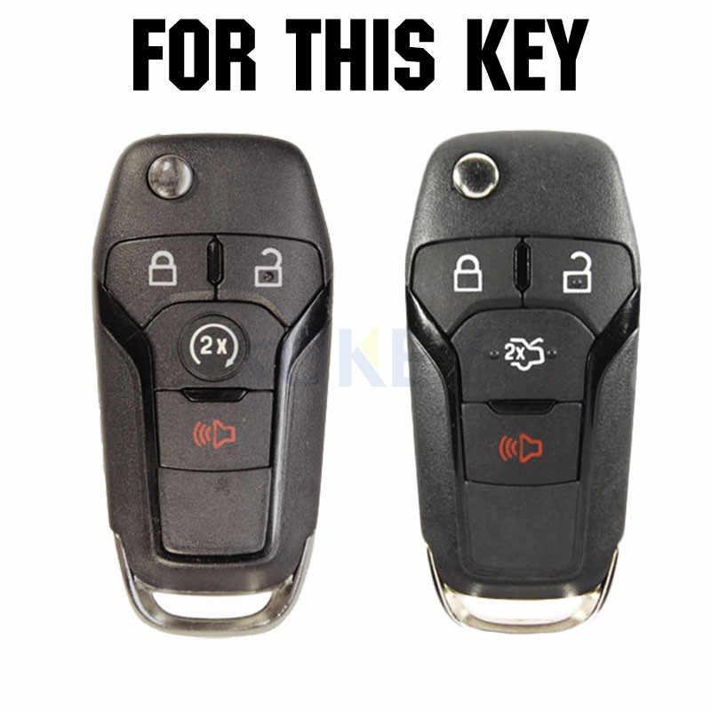2Pcs Silicone Car Key Case For Ford F-150 F-250 F-350 F-450 F-550 Fusion Fiesta Fusion Mustang Explorer Cover Remote Fob