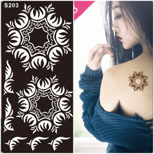 1Pcs Hand Henna Tattoo Stencils,Mehndi Indian Temporary Glitter Airbrush Henna Tattoo Templates Stencil for Finger Painting