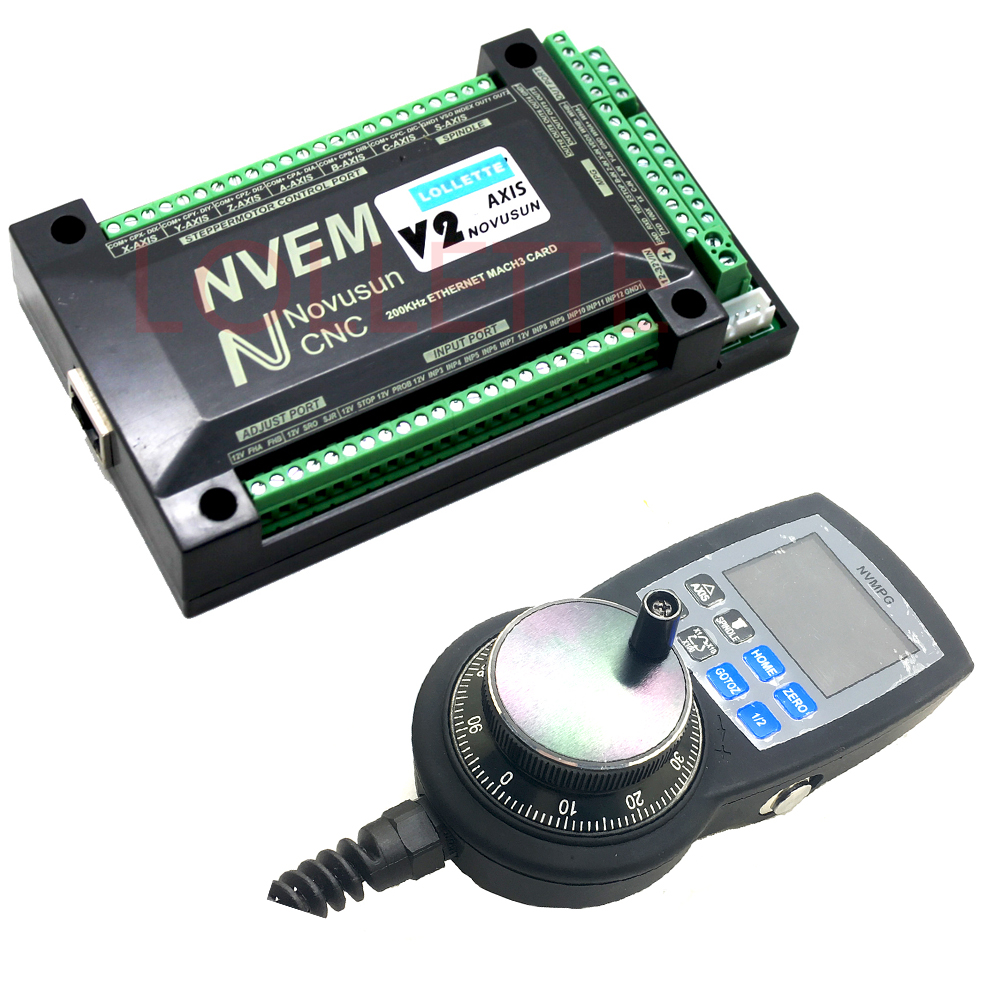 NVEM V2 version 6 Axis CNC Controller MACH3 Ethernet Interface Board Card+NVMPG handwheel freeshipping 0 to 10 vpwm spindle speed controller mach3 interface board