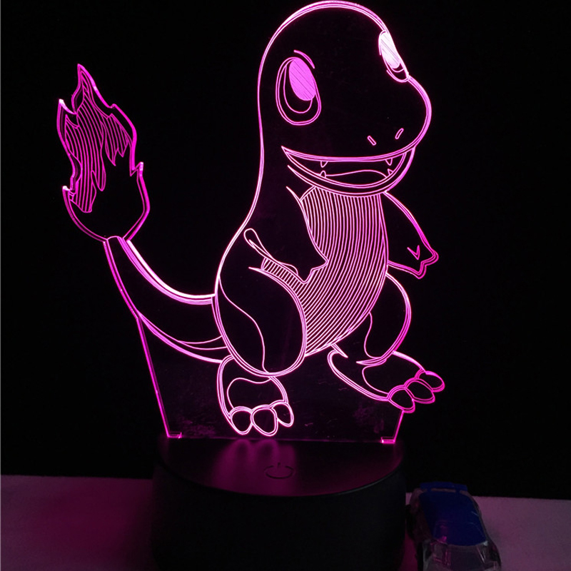 Hot Sale Japanese Cartoon Pokemons Go Game 3D USB LED Lamp Animal Figure Charmander Small Fire Dragon Colorful Night Light Toys colorful waterdrop cartoon ombre led night light
