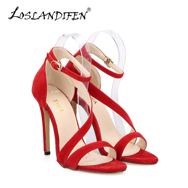 Mais novas Mulheres Sexy Sandálias de Tiras No Tornozelo Do Dedo Do Pé Aberto sapatos de Salto Alto Bombas de Casamento Sapatos Femininos Sandalias Stilettos Suede 102-8VE