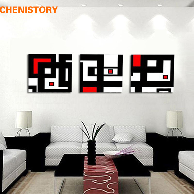 Unframed 3 Panel Abstract Picture White Red And Black