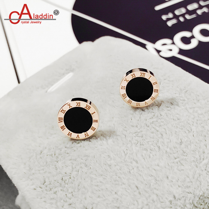 Aladdin Titanium steel material Stud earrings Round Roman numerals and Black earring simple style Rose gold lover's gift hipster