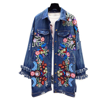 Handmade Sequins Floral embroidery jacket Denim beaded Trench Coats Bomber loose wild long 3D beading Sequined Holes Cardigan embroidery