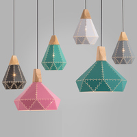 Color Dining Room Lights Green led Pendant Light Black and Gray Hanging Lamp Wood Coffee Shops Lighting Decoration Home Kitchen