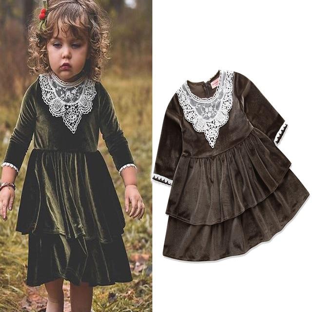 5494e712cb947 US $62.29 |5150 Princess Lace Toddler Velvet Baby Girls Dresses 2018 Autumn  Winter Kids Dresses For Girls Wholesale baby girl clothes 5pLot-in Dresses  ...