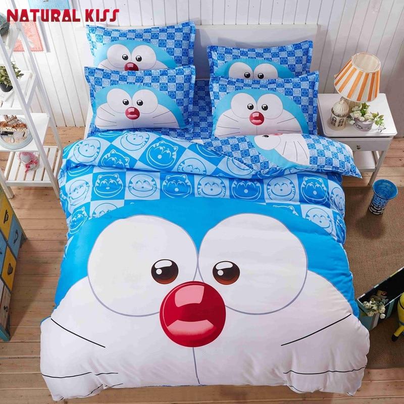 Cartoon cat 3d Home Bedding Set Doraemon Printed for Kids Bedroom Cotton Bed Linen 4pcs Duvet Cover Bed Sheet Pillowcases