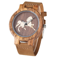 Classic Horse Display Wood Watch for Men Women Fashion Brown