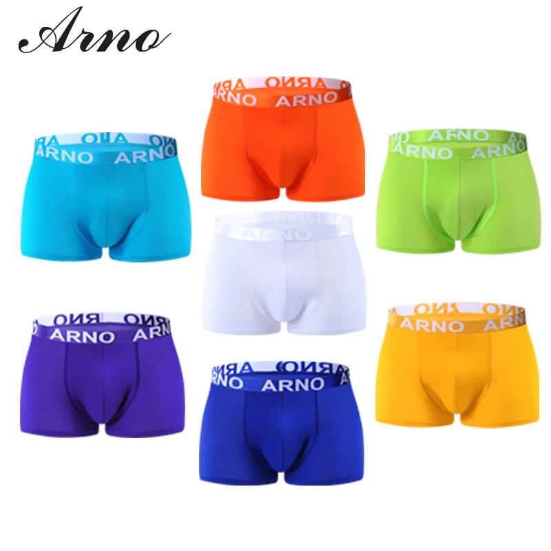 ARNO 2016 Soft Underwear Men Boxer Brand Spandex Underpants U Convex Boxers Wholesale Shorts Mens Panties 7 Colors * MTU50906-1