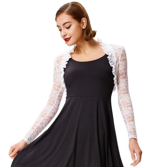 2018 Fashion Lace Bolero Womens Elegant Shrug Long Sleeve Sexy Black Wedding Evening Prom Cropped Shrugs Open Stitch Basic Coat 1