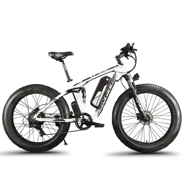Cyrusher XF800 Электрический велосипед двойная подвеска 7 скоростей, Fat tire eBike, 1000 Вт 48 В, умный Компьютер Спидометр Электрический велосипед