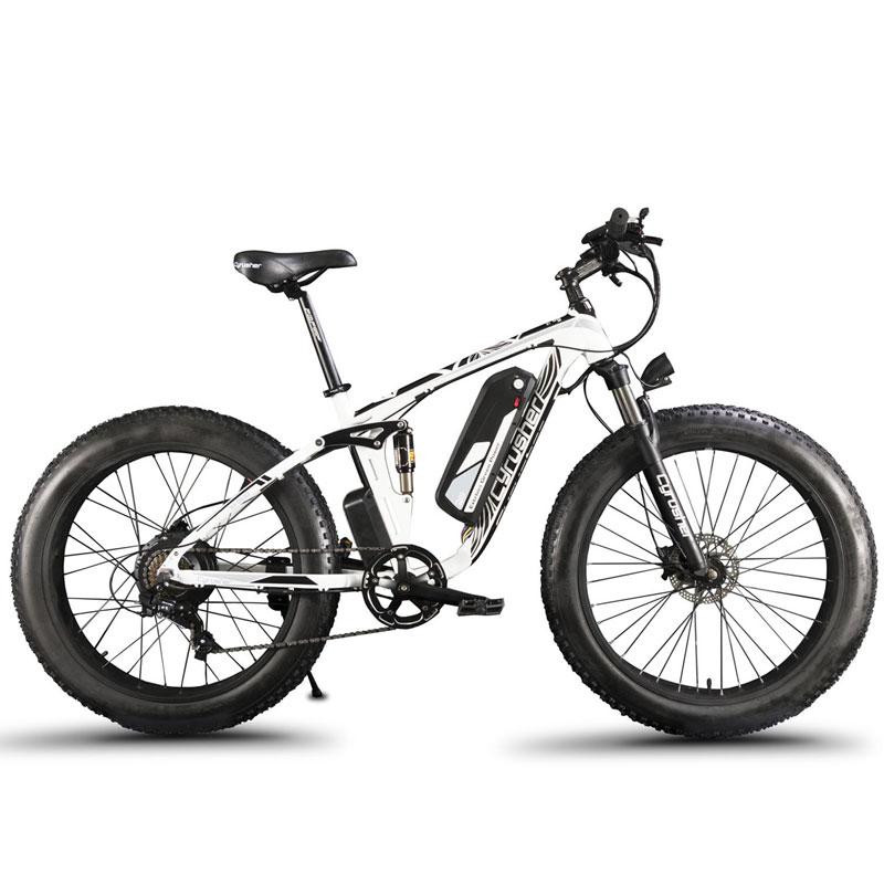 Cyrusher XF800 bicicleta eléctrica doble suspensión 7 velocidades, neumático de grasa eBike, 1000 W 48 V, bicicleta Eléctrica velocímetro de ordenador inteligente
