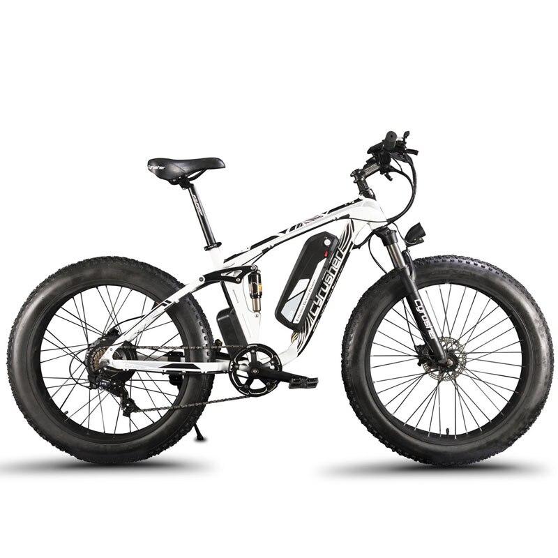 Cyrusher XF800 vélo électrique double Suspension 7 vitesses, gros pneu eBike, 1000 W 48 V, compteur de vitesse ordinateur intelligent vélo électrique