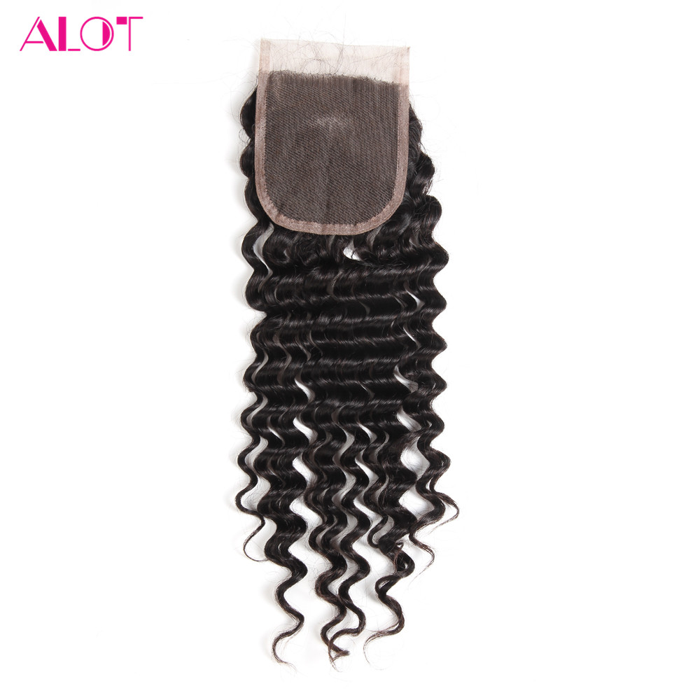 ALOT Deep Wave Human Hair Lace Closure Natural Color 8 to 20 Inch Brazilian Non Remy 4x4 Closure With Baby Hair