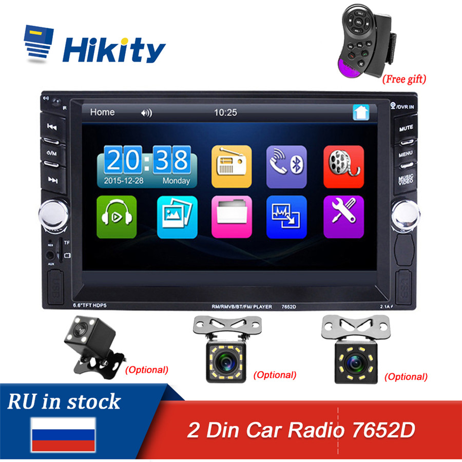 Hikity 2 din <font><b>car</b></font> radio 2din autoradio HD Touch Screen Auto <font><b>audio</b></font> <font><b>Car</b></font> Stereo MP5 Bluetooth USB TF FM Camera steering wheel 7652D image