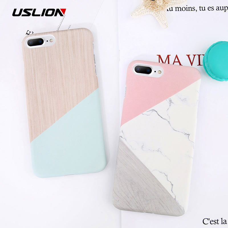 USLION Matte Marble Case For iPhone 7 Plus Candy Color Stone Image Phone Cases For iPhone X 8 7 6 6s Plus 5 5s SE Hard PC Cover