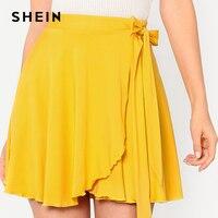 Shein 2018 de las mujeres del verano sólido amarillo Faldas elástico cintura cinturón superposición falda elegante una línea mediados cintura mini falda