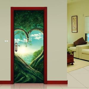 Image 3 - Serce zielony drzewa roślin 3D drzwi naklejki DIY Mural imitacja wodoodporna tapeta z PCV naklejki ścienne sypialnia wystrój domu