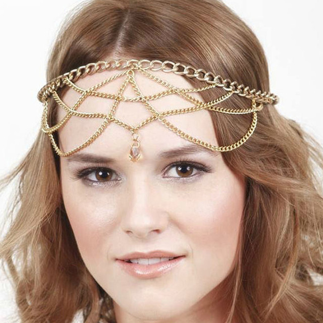 Vintage Forehead Jewelry Tassel Indian Head Chain Exaggerated Gold