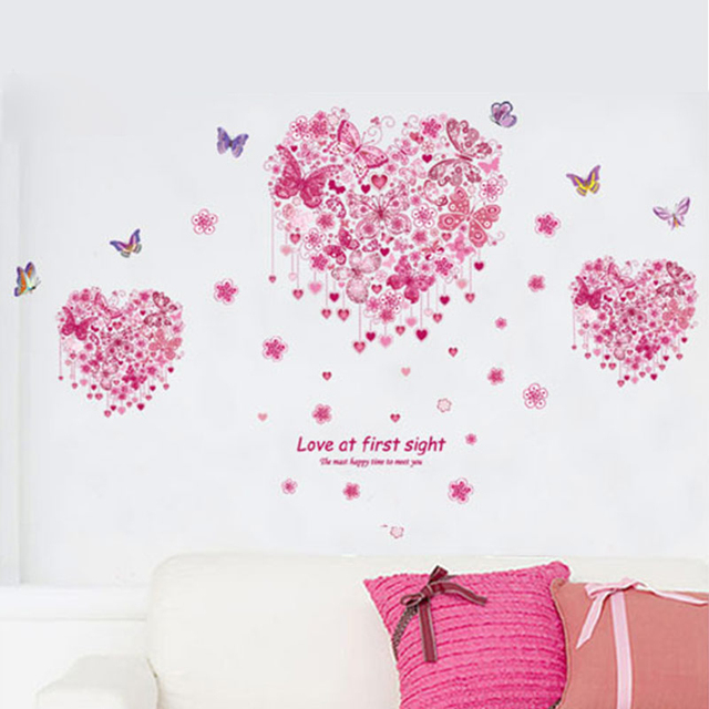 romantic heart design flower butterfly wall stickers living room rh aliexpress com