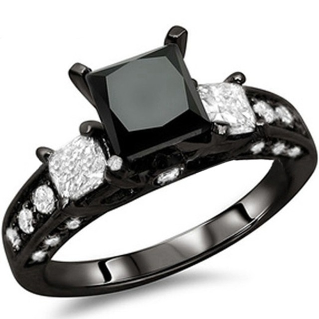 Women Size 4 12 Black Crystal Onyx Princess Cut Wedding Engagement Propose Anniversary Ring Mother S