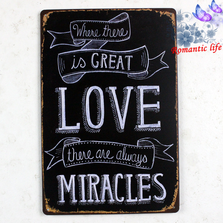 LOVE QUOTE MIRACLES TIN SIGN Wall Painting ART Vintage Bar Metal Retro Decor retro home decor decorative wall dishes