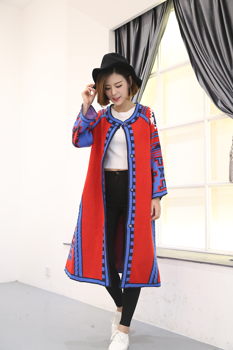 Cheshanf 2018 New Fashion Hot Sale Woman All Matche Red Color Pattern Long Fund Knitting Three Quarter Sleeve Boho Cardigan