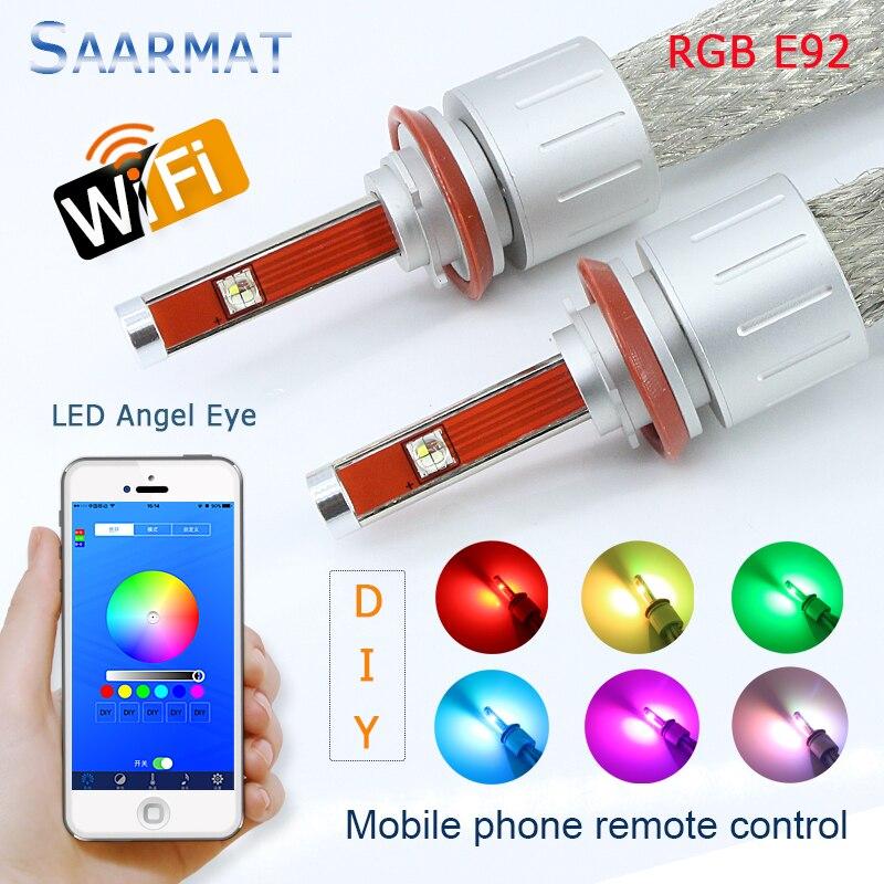 Pair E92 H8 RGB Wifi w/ CREE Chips Angel Eye Marker LED Headlight No Error for 07-12 BMW E92 328i 335i coupe M3 E93 E89 Z4