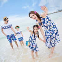 2017 Summer Mother Daughter Dresses Beachwear Vacation Blue Striped Chiffon Dress Dad Mom Kids Family Matching