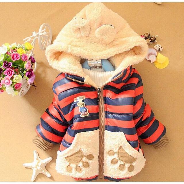 Curta Pena Novo Do Inverno Do Bebê Roupas Das Meninas Dos Meninos Dos Desenhos Animados Urso Projeto Outerwear Casaco Infantil