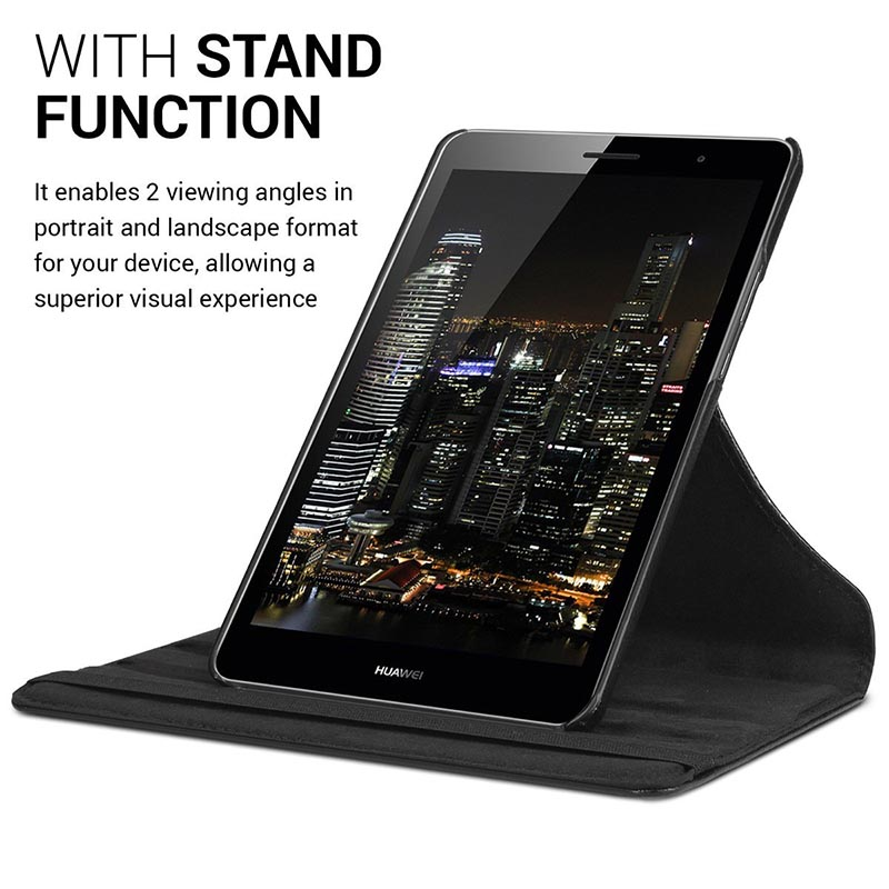 CucKooDo For HUAWEI MediaPad T3 8,PU Leather 360 Rotating Stand Smart Case Cover for HUAWEI MediaPad T3 8.0 inch Tablet