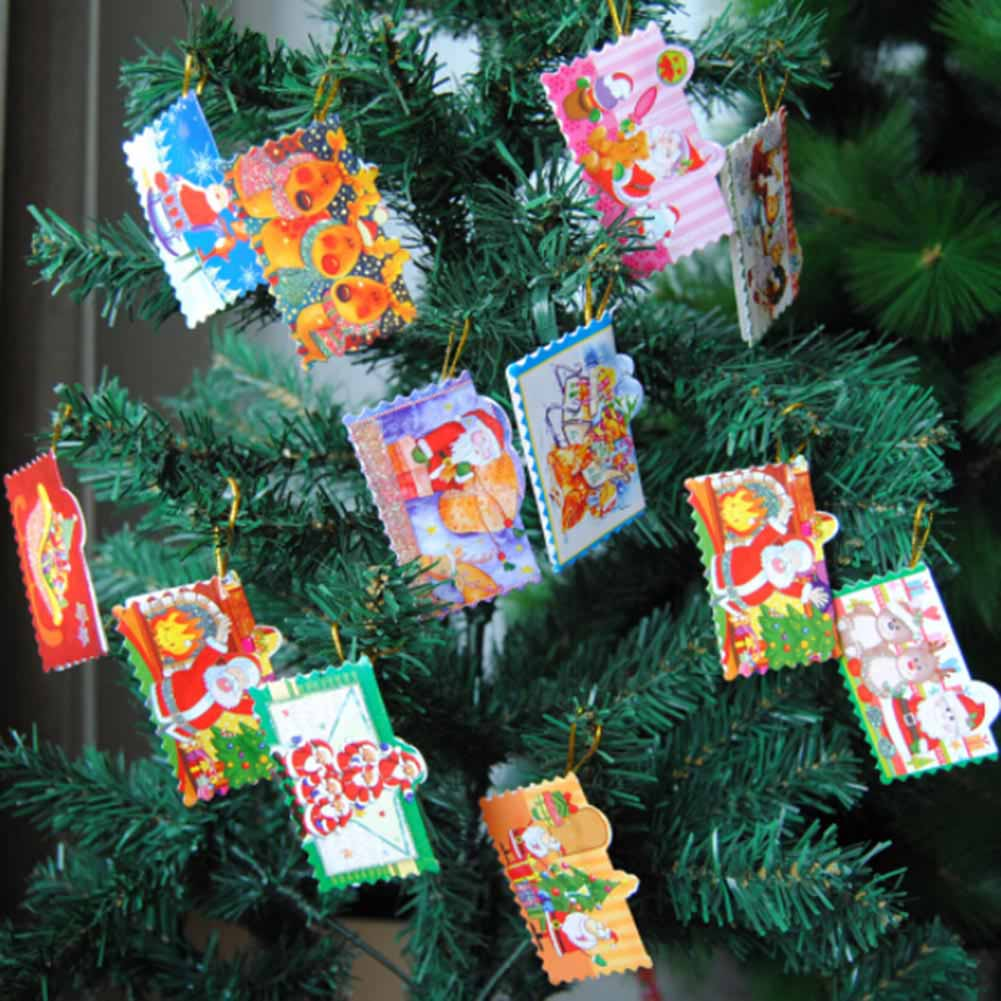 12 Pcs/Pack Merry Christmas Wish Card Greeting Card Sticker Ornament Pendant Christmas Tree Ornament Novelty Gifts Color Random
