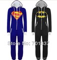 Las nuevas mujeres del Mens Unisex Batman Superman imprimir con capucha Zip Up Front mono Onesie pijamas R300 S / M / L / XL / xxl