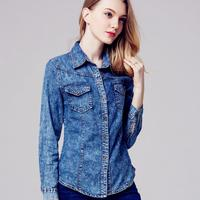 New Ladies Denim Shirts Long Sleeve Blue Jeans Shirt Women Blusas Camisa Femininas Fashion 2016 Spring