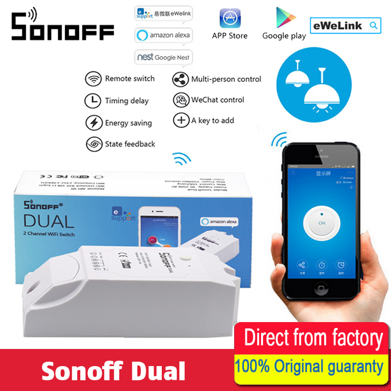 Sonoff Dual WiFi based 2 gang switch connect and control two home devices indep-endently Wi-fi Switch Smart Home Controller