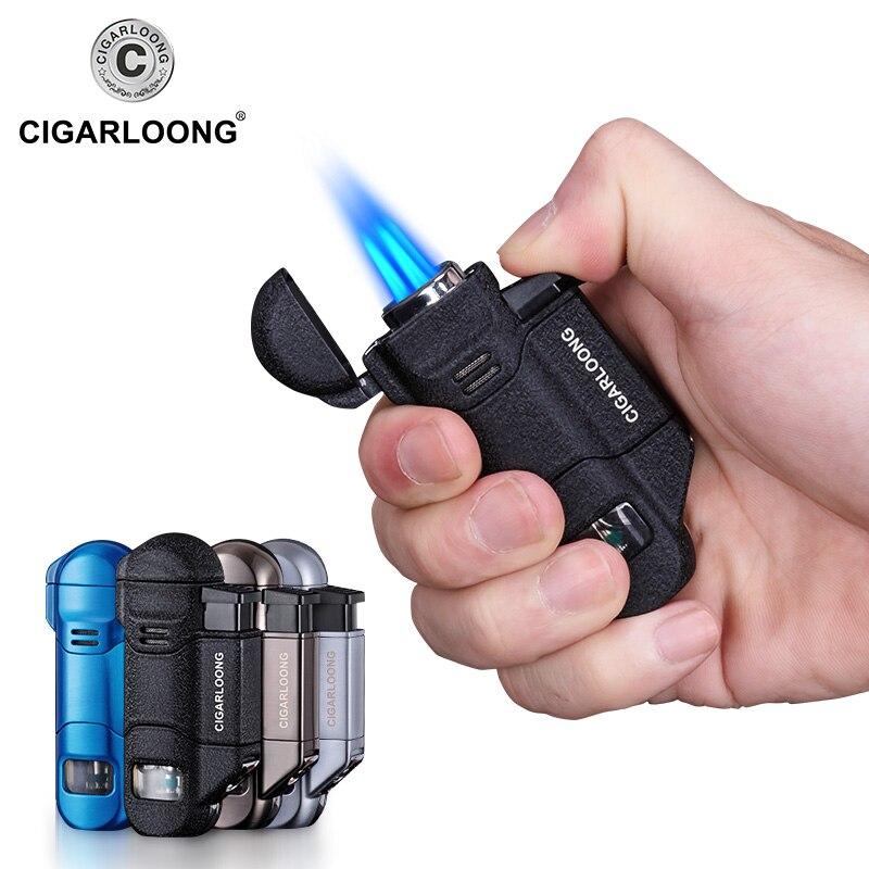 CIGARLOONG Cigar Lighter Portable 3 Torch Big firepower Windproof Lighter with Cigar Drill CB 0503