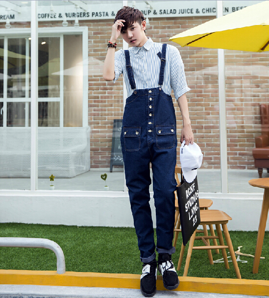 81092750a209 Harajuku Teenage Preppy Style Vintage Men Fashion Cool Skinny Jean Overalls  Denim Jumpsuit Button Pocket Bib Drop Crotch Pants -in Jeans from Men s  Clothing ...