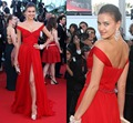 Beautiful  Vestido Festa Veck Neck Celebrity Iinspired Red Carpet Irina Shayk Dress Ladies For Night Chiffon Prom Dresses 2015